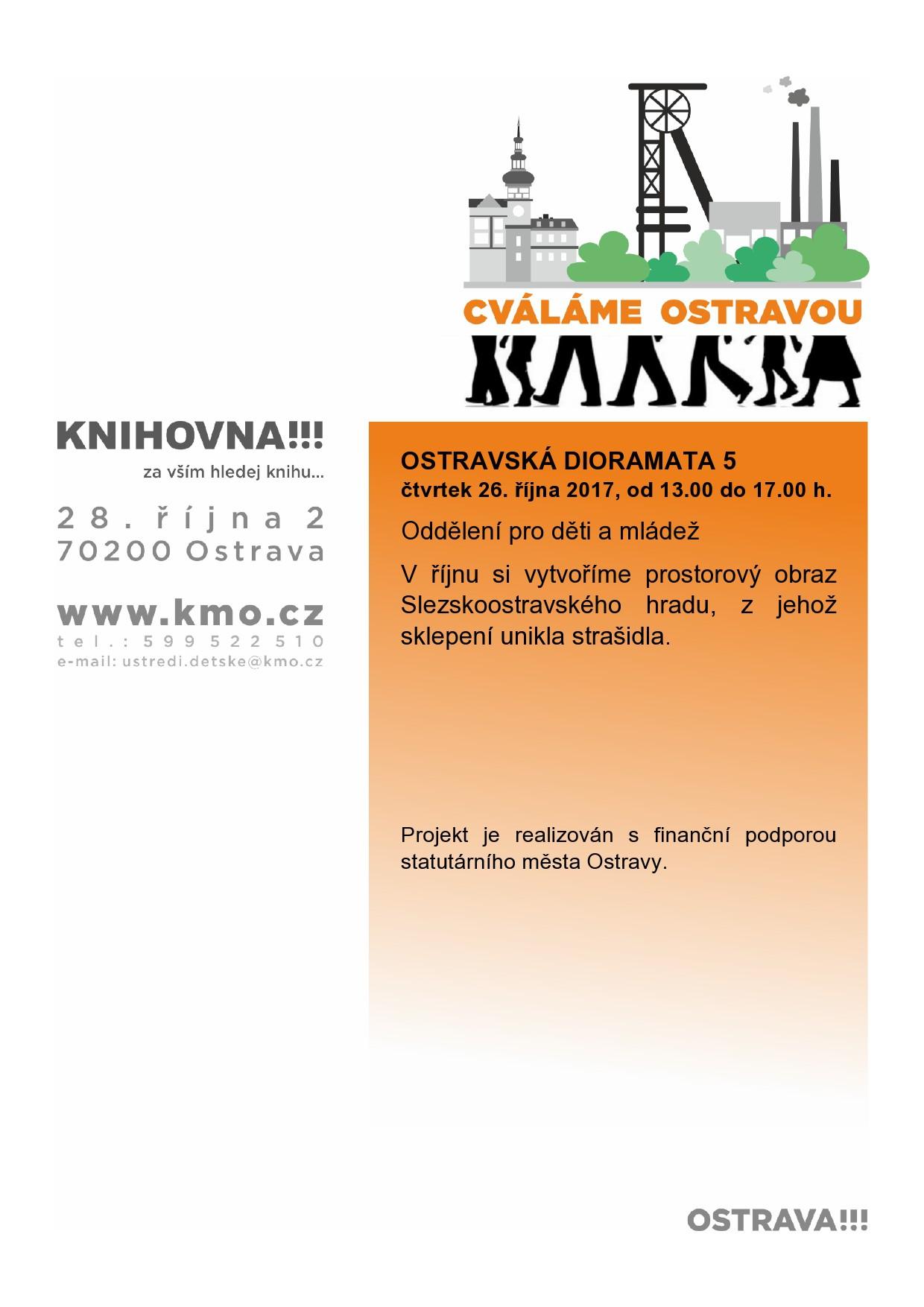 CVÁLÁME OSTRAVOU- DIORAMATA 5. Ve čtvrtek 26. října v 13.00 – 17.00 h. v čítárně oddělení pro děti a mládež KMO. Vytvořte si s námi prostorový obraz Slezskoostravského hradu, z jehož sklepení unikla strašidla.