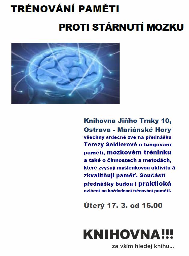 Beseda - Trénování paměti proti stárnutí mozku na pobočce Fifejdy, úterý 17.3. od 16 hodin!