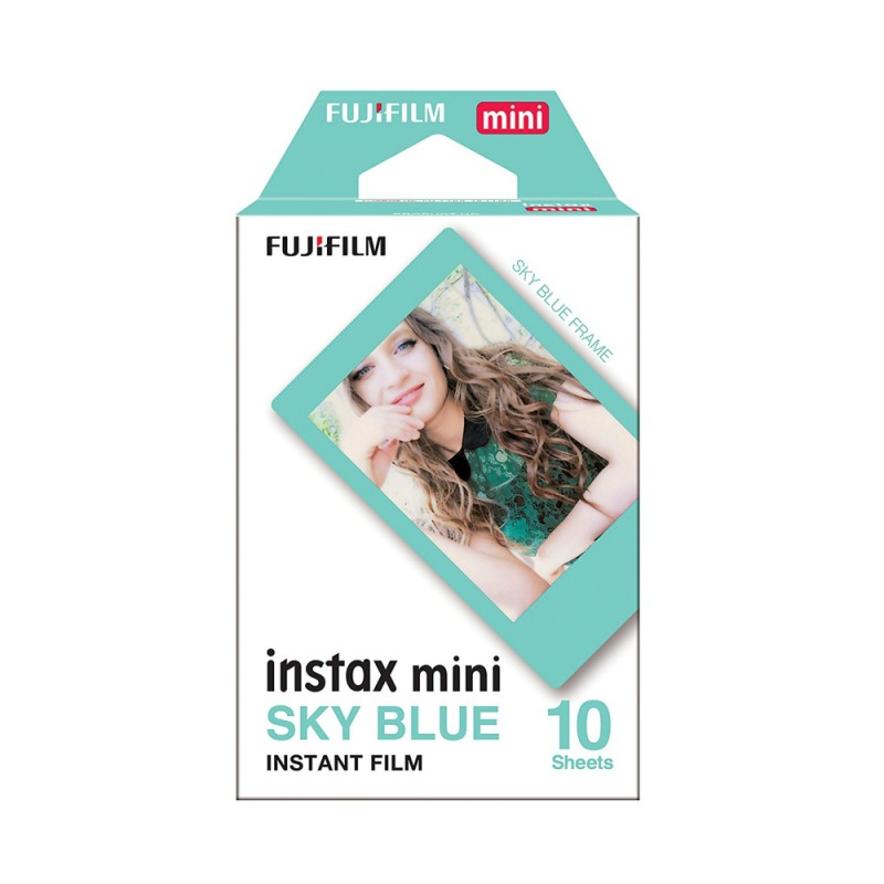 instatní fotoaparát instax fujifilm fotopapír modrý rámeček 10ks mini sky blue frame polaroid náplně (1)