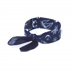 šátky do vlasů bandana námořnický vzore tmavě modrý (1) (1)